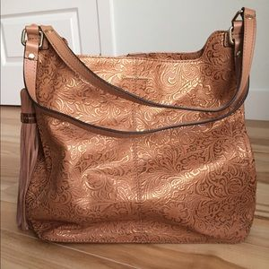 Tommy Bahama embossed leather tote.
